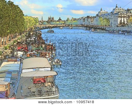 Paris Illustration, The Seine Wharf
