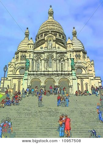 Paris Illustration, Sacre Coeur Basilica