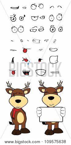 singboard deer cartoon emotions set
