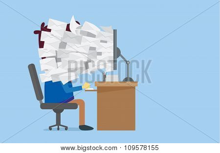Many E-mail out of computer screen to worker face