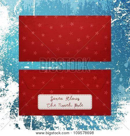 Christmas Envelope with Snowflakes to Santa Klaus