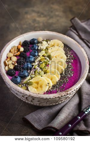 Berry Smoothie  Topped With Blueberry, Blackberry, Almond, Banana, Sesame, Pumpkin  And Chia Seeds