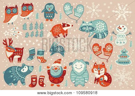 Holiday set of christmas characters in cartoon style
