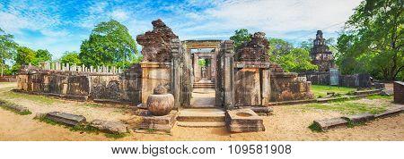 The Polonnaruwa Hetadage the Tooth Relic Temple in the world heritage city Polonnaruwa, Sri Lanka. Panorama