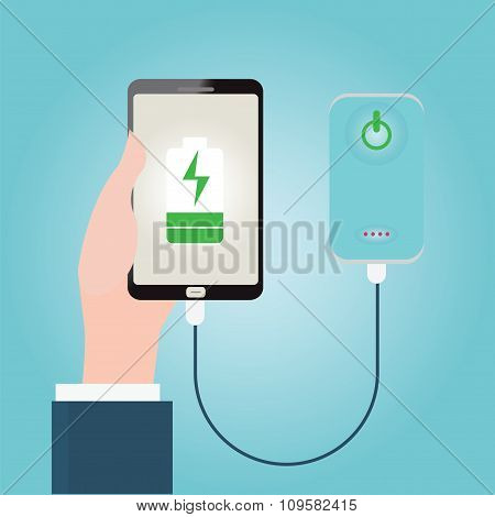 Human Hand Holding Smartphone Charging Connect To Power Bank.