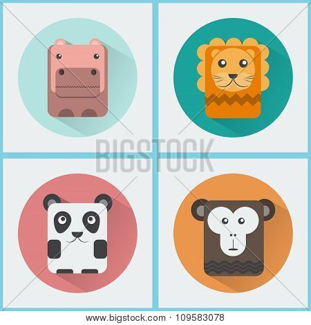Wild Animals Icons Set
