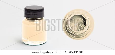 bisque acrylic color bottle side and top view white isolated with clipping path