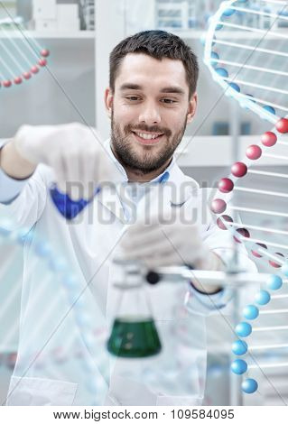 science, chemistry, technology, biology and people concept - young scientist mixing reagents from glass flasks and making test or research in clinical laboratory over dna molecule structure