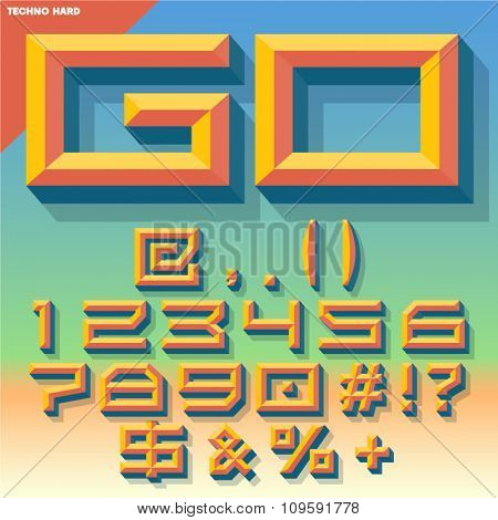 Vector 3D set of  summer beveled symbols and numbers in techno style with shadow. Multicolored version.