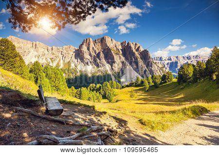 Great view on the Pizes de Cir ridge, valley Gardena. National Park Dolomites, South Tyrol. Location Ortisei, S. Cristina and Selva Gardena, Italy, Europe. Dramatic scene. Beauty world.