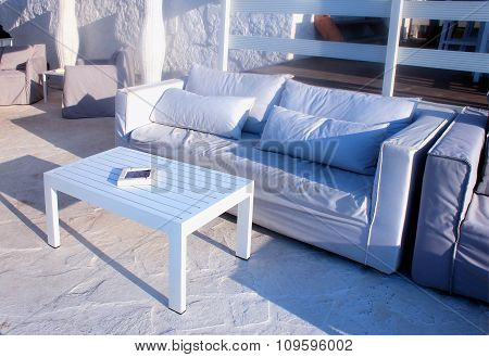 Beautiful Relax Terrace With White Sofa, Grete, Greece.