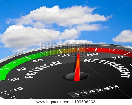 Speedometer showing pension and retirement age against blue sky