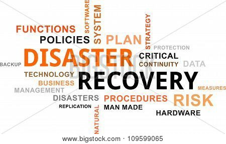 A word cloud of disaster recovery related items poster