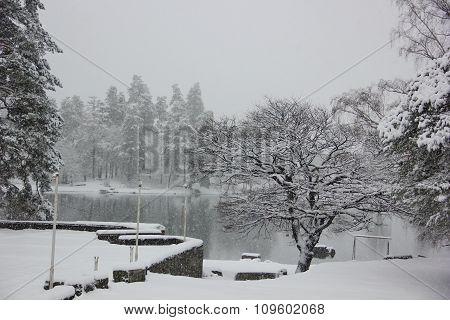 heavy snowfall at the lake