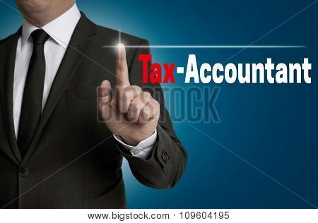 Tax Accountant Touchscreen Is Operated By Businessman Concept