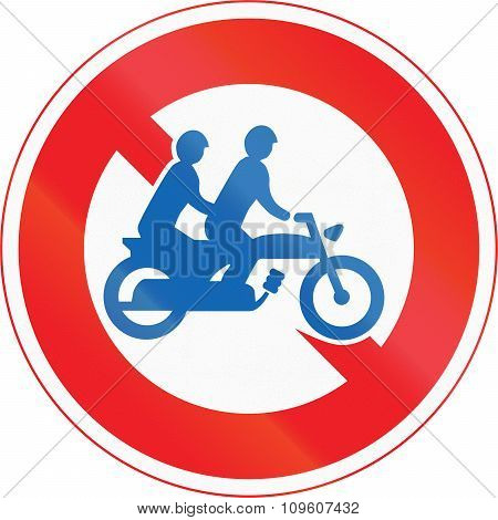 Japanese Road Sign - No Thoroughfare For Motorcycles For Two Persons