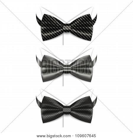 Set of black bow ties