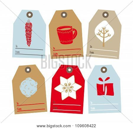 Set Of Tags For Gifts For Christmas