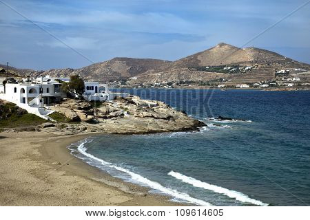Panorama of Naoussa beach at Paros island in the Cyclades, Greece