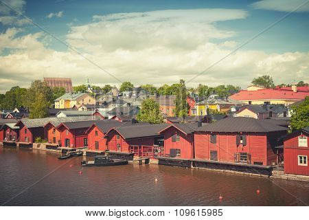 Old Red Wooden Houses On River Coast In Porvoo