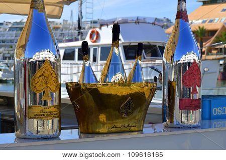 Armand De Brignac Ace Of Spades Brut Champagne bottles