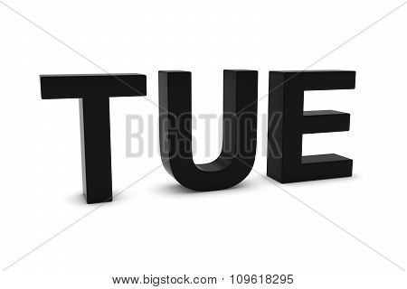 Tue Black 3D Text - Tuesday Abbreviation Isolated On White