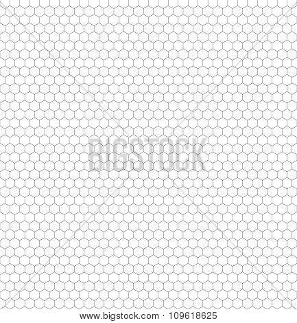 Seamless Black And White Hexagon (honeycomb) Net Pattern