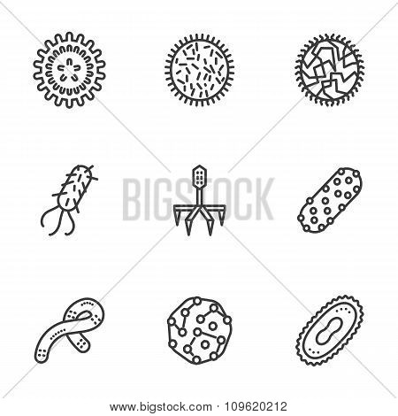 Bacteria and virus black line vector icons set
