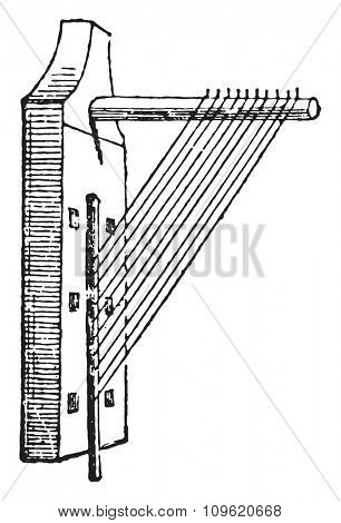 Angle harp, vintage engraved illustration. Private life of Ancient â?? Antique family â?? 1881.