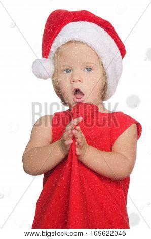 Surprised Girl In Christmas Cap, Snow