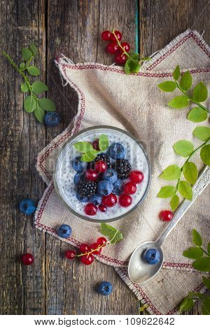 Natural Yogurt With Chia Seeds And Fresh Berries