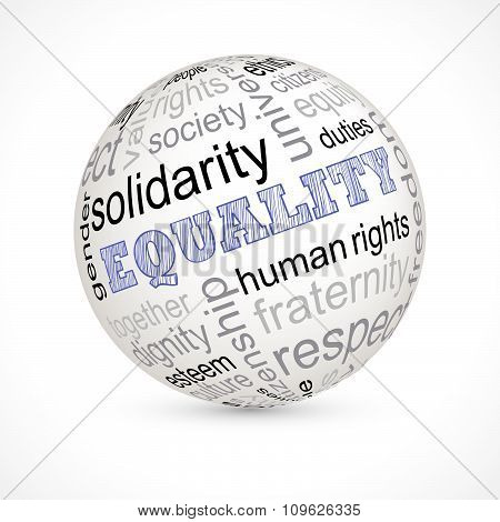 Equality theme sphere with keywords full vector poster