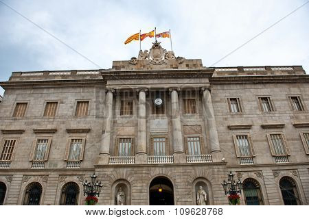 BARCELONA, SPAIN - MAY 01: Low Angle View of Exterior of Palau de la Generalitat de Catalunya, a Medieval Building Housing Government Offices in Barcelona, Spain. May 01, 2015