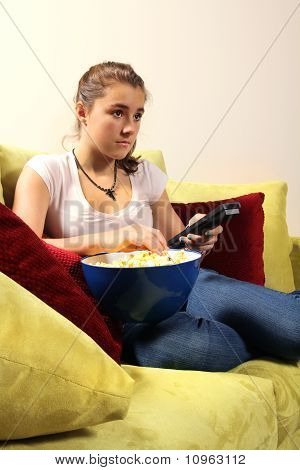 Teen Watching Television
