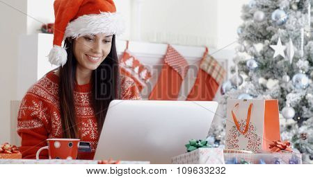 Smiling woman doing online Christmas shopping as she sits in front of the Xmas tree in a red Santa hat checking her card details to enter them onto her laptop computer.