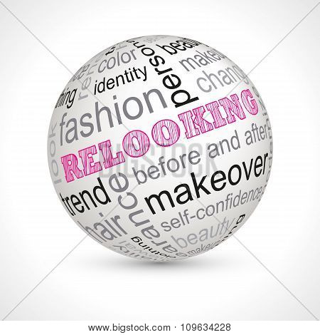 Relooking theme sphere with keywords full vector poster