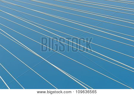 White Bridge Cable Stays In Diagonal Pattern Across Blue Background. From Veterans Memorial Bridge A