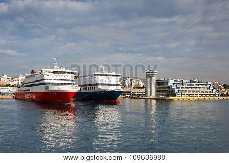 Passenger port in Athens.