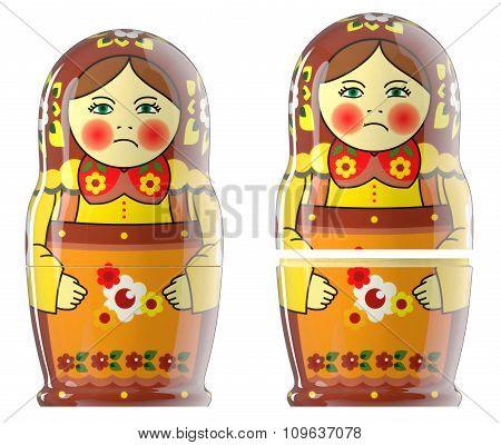 Matreshka doll isolated on white 3d
