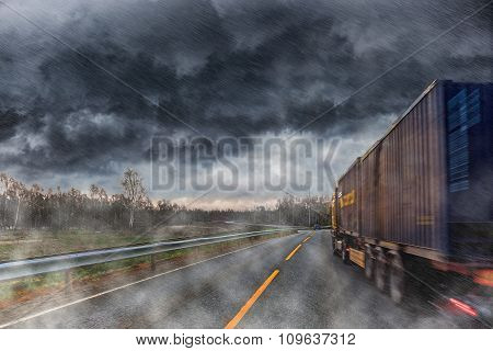 Big Lorry During The Rain