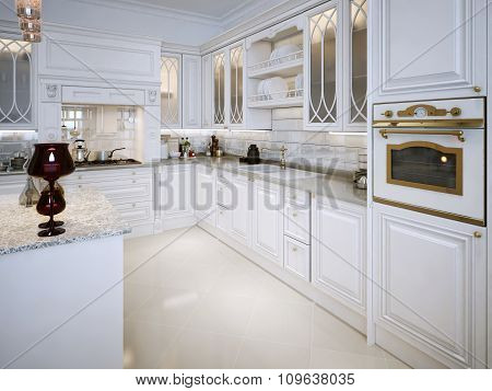 Luxury White Kitchen In Classical Style.