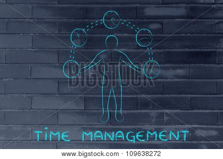 Busy Man Juggling With Clocks, With Text Time Management