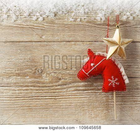 Christmas Cowboy Background With Toy Horse And Star