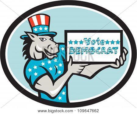 Vote Democrat Donkey Mascot Oval Cartoon