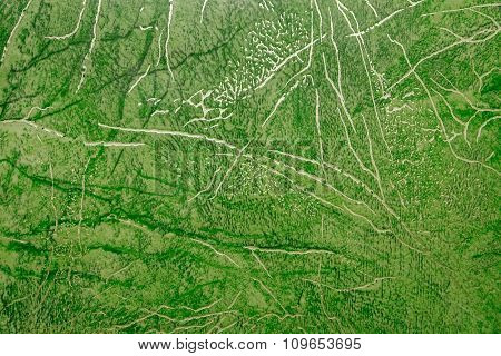 Linoleum With Green Abstract Pattern With Bright Golden Streaks