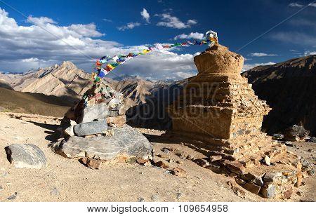 Stupas With Prayer Flags In Zanskar Valley