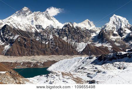 Panoramic View Of Everest, Lhotse, Makalu And Gokyo Lake