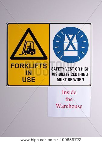 Fork lift truck warning and high visibility vest wall signs