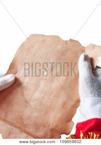 Santa Claus reeding a letter isolated