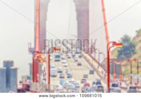 Defocused Background Of Golden Gate Bridge In San Francisco, Usa